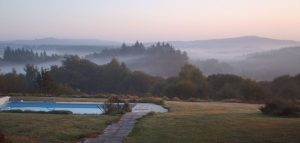 Misty morning over pool #dordognelakeproperty